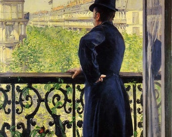 """Gustave Caillebotte, Man on a Balcony, 1880 8x10"""" Cotton Canvas Print"""