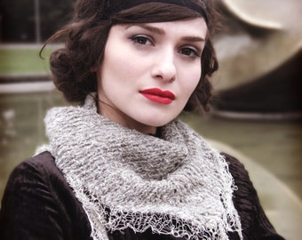 womans lace shawl - oatmeal shawl - triangle shawl - knitted shawl - hand made shawl - romantic shawl