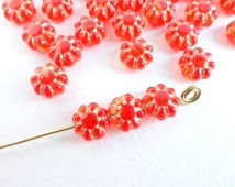 40 x 9mm Red and Gold Pressed Flower Czech Glass Beads, Red Glass Flower Beads, Czech Flower Beads FLW0019