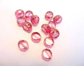 4 x 12mm  2 Way Cut Czech Glass Beads, Table Cut Beads, Pink Glass Beads, Fire Polished Beads TWC0003