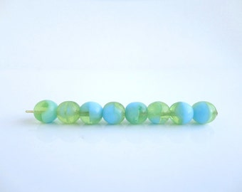 60 x 6mm Blue and Green Round Czech Glass Beads, Blue Round Beads, Green Beads RND0104
