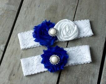Sapphire Blue and White Satin Wedding Garter, Shabby Chic Garter