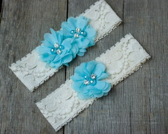 Light Blue Wedding Garter, Shabby Chic Garter