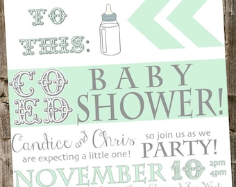 COED Baby Shower Invitation: From beer bottle to baby bottle- Mint & white
