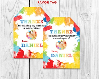 Art Party Favor tags, Paint art gift tags, Paint arts crafts sticker tags, Thank you Tag Gift tags printable DIY pdf