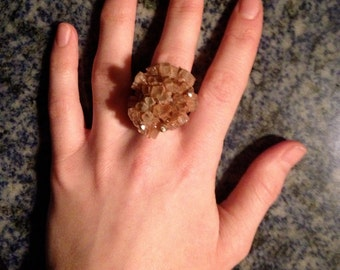 Aragonite Ring, OOAK statement ring