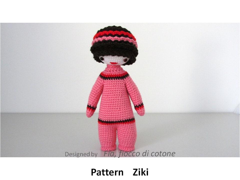 Pattern Ziki doll amigurumi crochet by cottonflake on Etsy