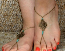 Bronze turquoise barefoot sandals, Turquoise barefoot sandals, Ankle slave foot, Barefoot sandals UK,  Bare foot sandals, Bronze ankle slave