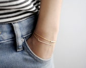14k Gold Bracelets - Dainty Gold Bar & Gold Tube Bracelets - Set of Two - Gift For Her - Simple Minimalist Everyday Jewelry LITTIONARY