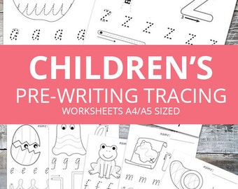 Customised Name and Toddler and Kindergarten pre-writing tracing worksheets