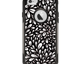 The Black Floral Sprout Apple iPhone 6 Otterbox Commuter Case Skin Set
