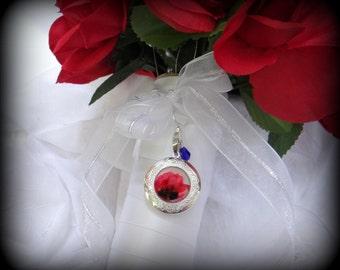 Poppies Wedding Bouquet Locket - Poppy Locket for Wedding Flowers - Something Blue - Wedding Photo Locket