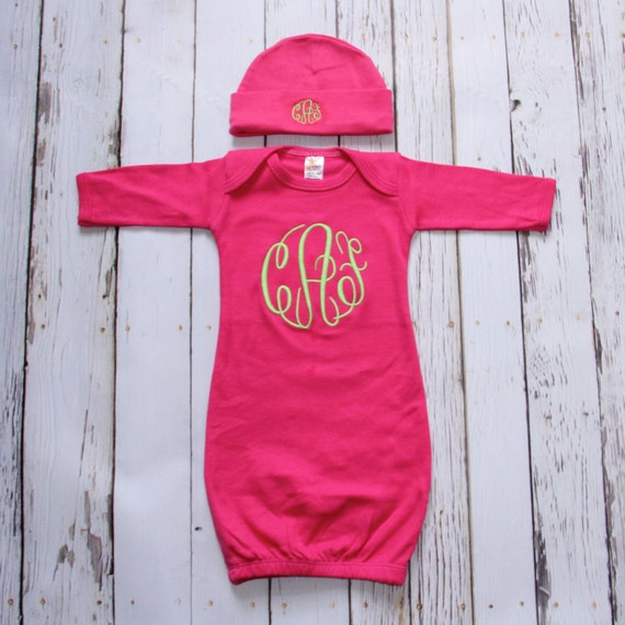Items Similar To Monogrammed Baby Gown And Beanie Boy Or
