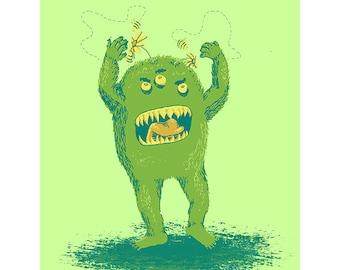 """Monster Nursery Print - Digital Art Drawing - 8""""X11.5"""""""