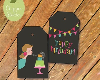 Instant Download- Printable Hang Tags.  Birthday Gift Tags. Vintage Inspired Tags. Happy Birthday Labels. Birthday Girl. Neon. Chalkboard.