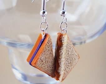 Peanut Butter and Jelly Polymer Clay Earrings, Miniature Clay Dessert Food Jewelry, Hook Earrings