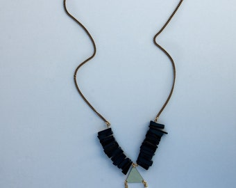 Geometrical Statement Neklace, Black Onyx Necklace, Gift For the Gypsy Lover, Festival Jewelry