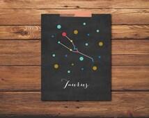 Taurus Print - Zodiac Print - Taurus Constellation - Constellation Art - Astrology Print - Zodiac Signs - Taurus Art - DIGITAL DOWNLOAD