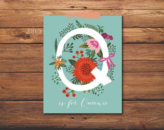 Custom Monogram -  Personalized Monogram - Nursery Art - Baby Shower Gift - Baby Girl - Floral Monogram - Custom Nursery - Personalized Gift