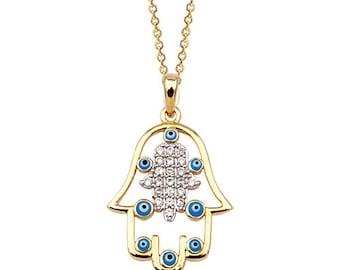 Hamsa Evil Eye Enameled 14k Solid Gold Necklace