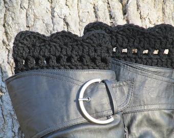 Crochet Boots Cuffs, BLACK Boot Cuffs, Scalloped Boot Cuffs, Boot Warmers, Boot Liners, Boot Toppers, Boot Socks