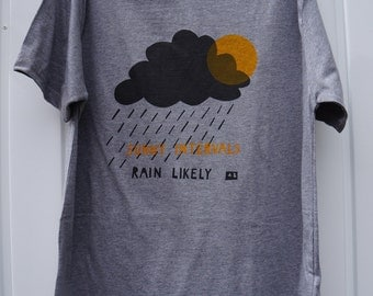 RAIN LIKELY weather themed hand screen printed organic t-shirt for men in grey/gray melange