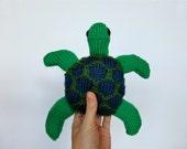 Sea Turtle, hand-knit stuffed animal toy