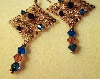 Jewel-Tone Golden Filigree Crystal Dangle Earrings