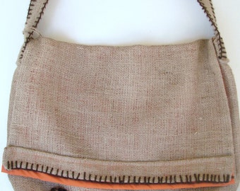 Large Burlap Messenger Bag