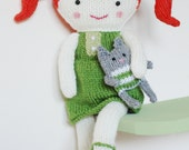 Knitting Pattern - Olive & Pea Doll with her toy cat PDF INSTANT DOWNLOAD