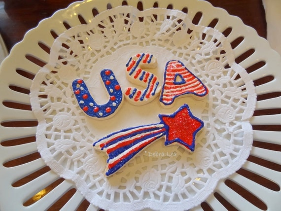 Fake Cookies **ON SALE** Set of 3 Patriotic Americana July 4th Stars and Stripes Red White and Blue America Faux USA Star Artificial  1