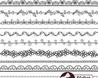 Digital Doodle Border Clip Art, Hand Drawn, Black Border Clipart, Flower Vine
