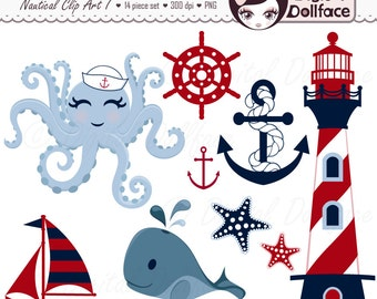 Nautical Clipart, Summer, Anchor, Whale, Sailboat, Octopus, Waves, Lighthouse Clip Art