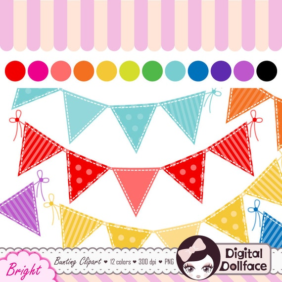 Items similar to Digital Bunting Clipart, Flag Banner Clip ...