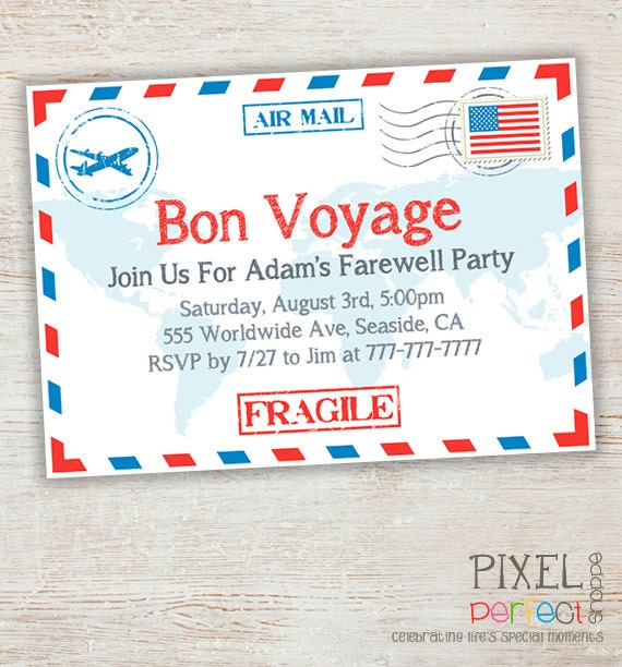 items similar to travel    farewell party invitation  bon voyage