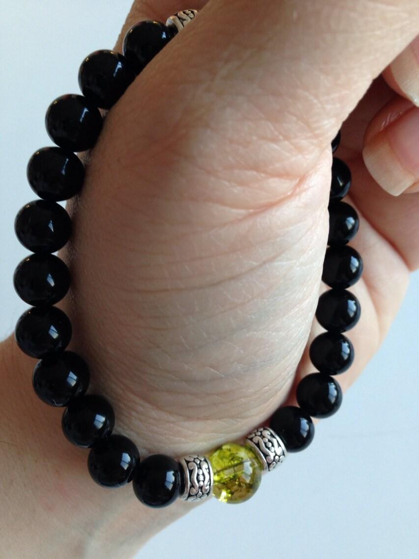 Men S Bracelet In Black Onyx And Peridot Healing Jewelry