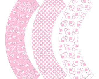 Pink Baby Shower Cupcake Wrappers Printable Digital Instant Download