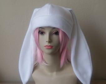 Fleece Rabbit Hat / SOLID WHITE Beanie Style with Long Bunny Ears Cute Anime Cosplay Rabbit Ears Usagi Ears Kawaii Japanese Fashion
