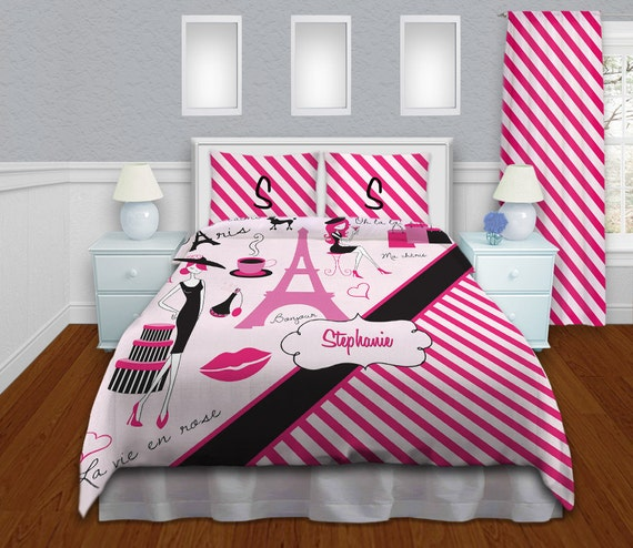 paris theme bedding comforter pink striped by eloquentinnovations. Black Bedroom Furniture Sets. Home Design Ideas