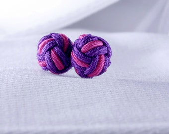 Purple and Pink  Silk Knot Cufflinks