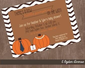 Little Pumpkin Baby Shower Invitation: Chevron, pumpkin, fall, customize, printable - Gender reveal or birth announcement- EOgdenAve
