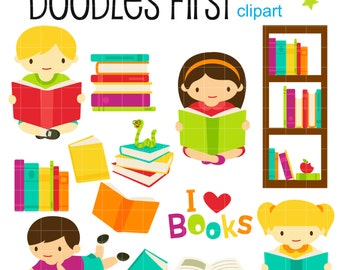 Book Club Digital Clip Art for Scrapbooking Card Making Cupcake Toppers Paper Crafts