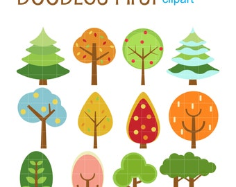 Cute Tree Set Digital Clip Art for Scrapbooking Card Making Cupcake Toppers Paper Crafts