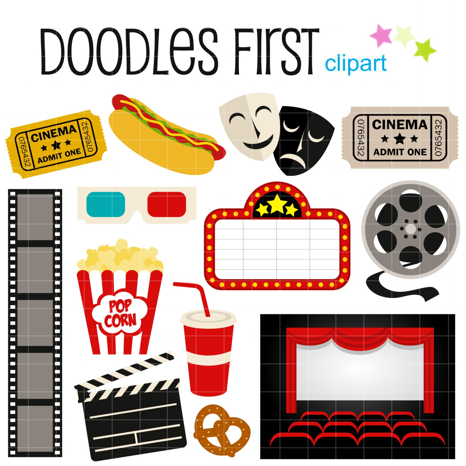 Movie Night Digital Clip Art for Scrapbooking Card by DoodlesFirst