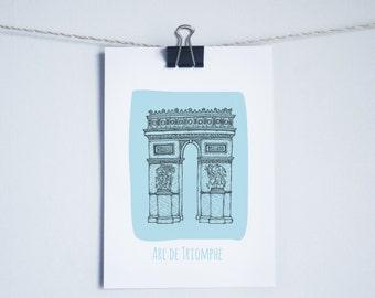 Paris ~ Arc de Triomphe Illustrated Print