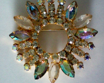 Aurora Borealis & Clear Rhinestone Wreath Pin - 2358