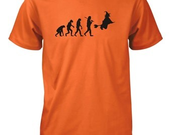 Evolution of Man Witch Halloween T-Shirt for Men