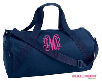 Custom Embroidered Monogrammed GYM Bag Cheerleader Hot Pink Navy Many Colors Duffel Girls Backpack Tote