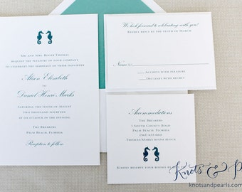 Seahorse Wedding Invitation, Sample Set