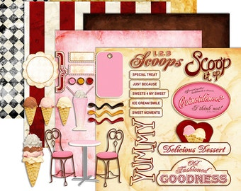 Ice Cream Clipart Digital Scrapbook - Birthday Party Ice Cream Shoppe Digital Printable Papers - Instant Download